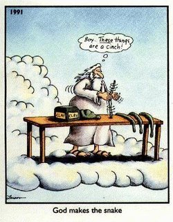 Far Side God making the snake